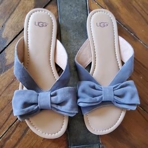 UGG Lavender Suede Leather Bow Sandals